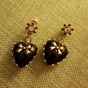 Betsey Johnson black and gold earrings